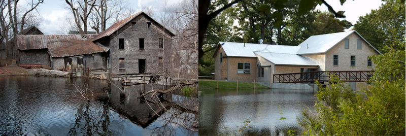 The mill at Freedom Falls before the 2012 renovations begun and after.