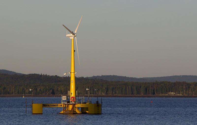 The University of Maine's Aqua Ventus offshore wind turbine in Sept. 2013.