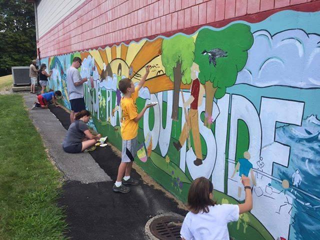 "Community art project - ""Winthrop Plays Outside"" Artist: Kate Harris"