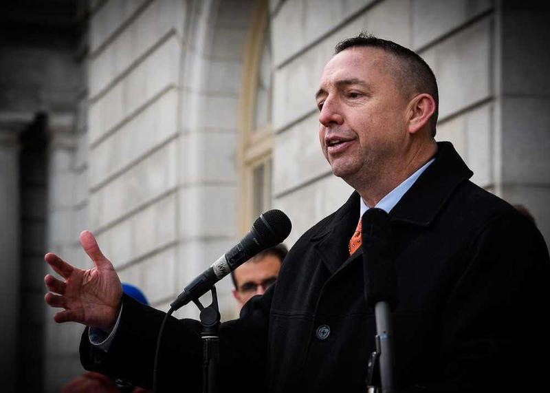 Portland Police Chief Michael Sauschuck at an anti-violence rally in the city in March of 2018.