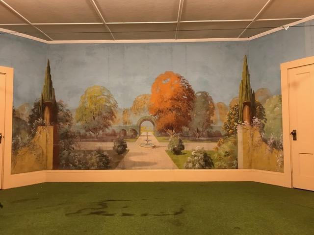 The back wall of the stage at the Mariaville Grange