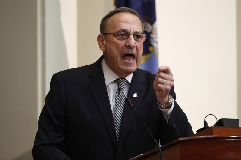 In this Feb. 13, 2018, file photo, Gov. Paul LePage delivers the State of the State address to the Legislature at the State House in Augusta, Maine.