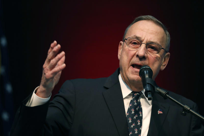 Gov. Paul LePage speaks at the Republican Convention, Saturday, May 5, 2018, in Augusta, Maine.