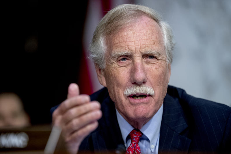 Sen. Angus King, I-Maine, speaks during a Senate Intelligence Committee hearing on 'Policy Response to Russian Interference in the 2016 U.S. Elections' on Capitol Hill, Wednesday, June 20, 2018, in Washington.
