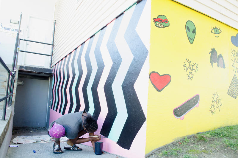 New Youth Designed and painted Mural in Kennedy Park, Portland