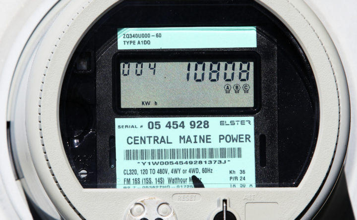 """In this Oct. 14, 2010 file photo, a new Central Maine Power """"smart meter"""" displays electricity usage at a business in Freeport."""