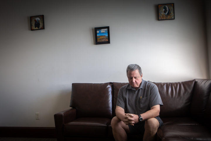 Dr. Ron Springel sits at the Plymouth House Sober Care home on Glenwood Avenue in Portland where he received treatment in 2014. Springel now serves on the board of the Maine Association of Recovery Residences.