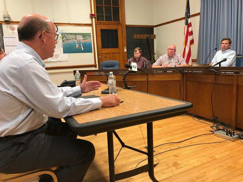 Bay Ferries CEO Mark McDonald explains details of his proposal to resume ferry service between Bar Harbor and Yarmouth Nova Scotia to members of the Bar Harbor Town Council Tuesday evening.