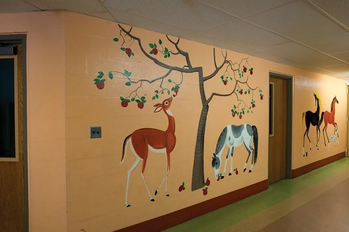 Dahlov Ipcar's Signature Horses Mural at Kingfield Elementary