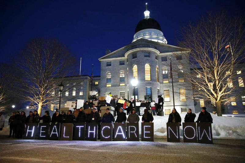 Mainers for Health Care rally outside the State House prior to Gov. Paul LePage's State of the State address, Tuesday, Feb. 13, 2018, in Augusta, Maine.