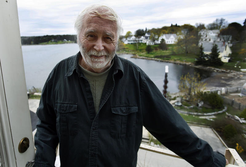 Pop artist Robert Indiana, 80, stands on his porch at his home on Vinalhaven Island, Maine, on Thursday, May 14, 2009.