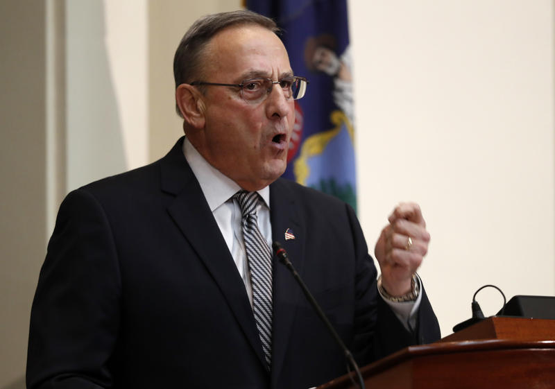 Gov. Paul LePage delivers his State of the State address, Tuesday, Feb. 13, 2018, in Augusta, Maine.