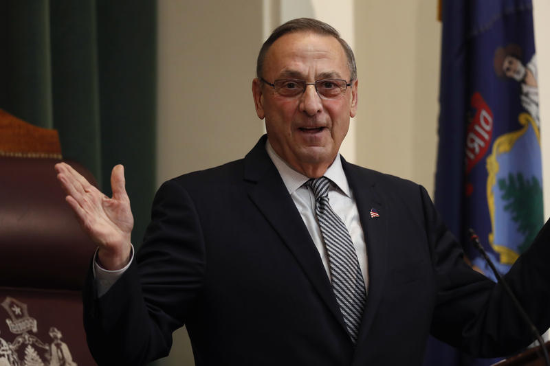 Gov. Paul LePage delivers the State of the State address to the Legislature, Tuesday, Feb. 13, 2018, at the State House in Augusta, Maine.