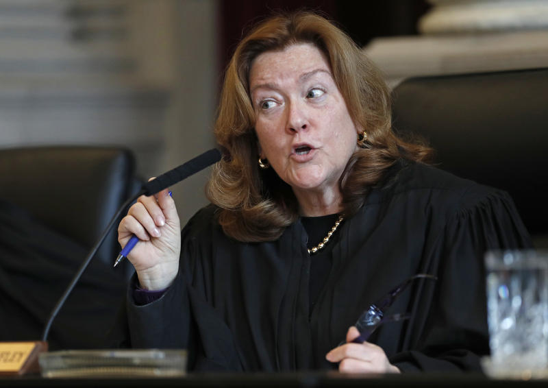 Chief Justice Leigh Saufley asks a question during a hearing in the Maine Supreme Judicial Court on whether ranked-choice voting can be used in Maine's June 12th primary, Thursday, April 12, 2018, in Portland, Maine.