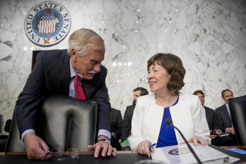 King and Collins speak before a Senate Intelligence Committee hearing on 'Policy Response to Russian Interference in the 2016 U.S. Elections' on Capitol Hill, Wednesday, June 20, 2018, in Washington