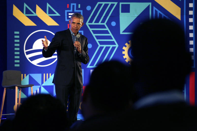 Former US President Barack Obama speaks during his town hall for the Obama Foundation at the African Leadership Academy in Johannesburg, South Africa, Wednesday, July 18, 2018.