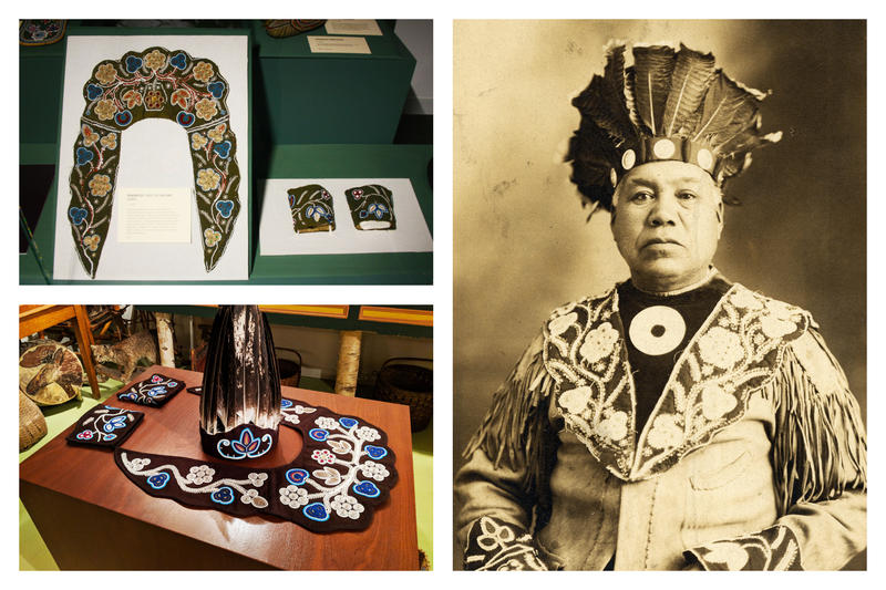 Top left: the original beaded collar. Bottom left: Jennifer Neptune's recreation. Right: Chief Peter Nicolar wearing original collar (1910).