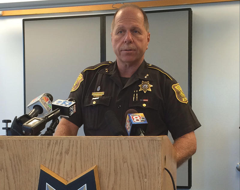 Cumberland County Sheriff Kevin Joyce at a news event in Portland Sept. 15, 2015.