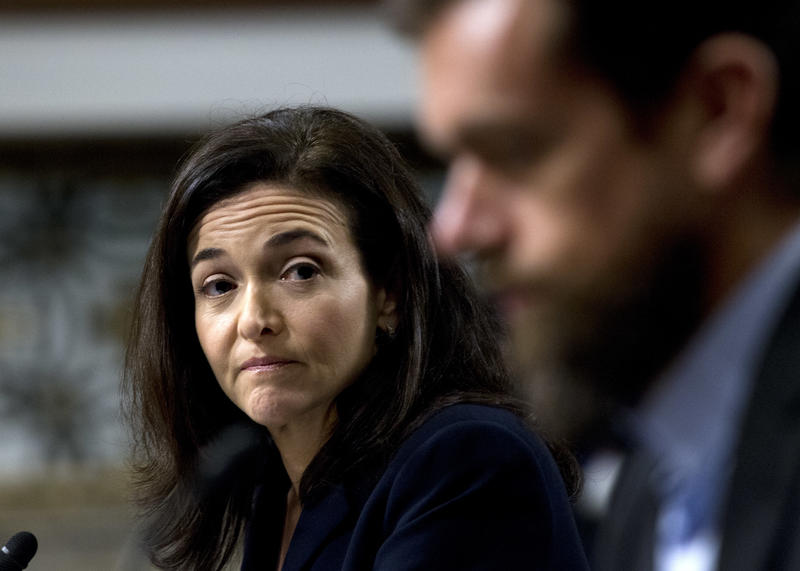 Facebook COO Sheryl Sandberg accompanied by Twitter CEO Jack Dorsey, right, before the Senate Intelligence Committee hearing on 'Foreign Influence Operations and Their Use of Social Media Platforms'