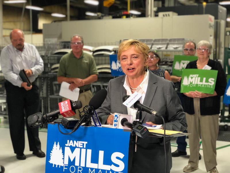 Janet Mills unveils her economic plan at Kennebec Technologies in Augusta on Tuesday.