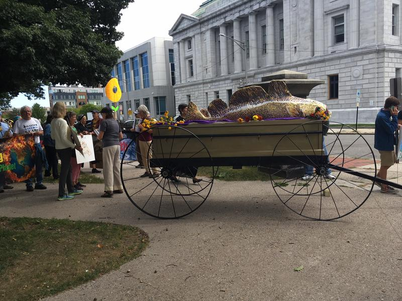 "The event included a funeral procession for a large codfish puppet pulled on a wagon, which organizers said represented ""the way of life that has been disappearing with its demise."""