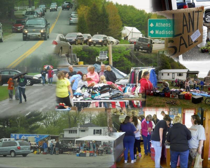 Composite image of yard sales in Maine