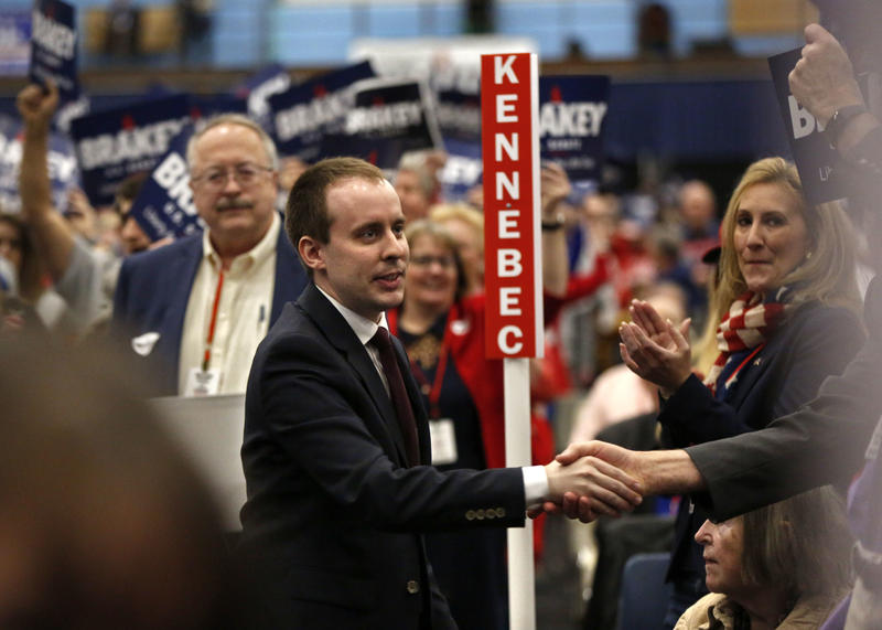 State Sen. Eric Brakey, R-Auburn, a candidate for U.S. Senate, greets supporters at the Republican Convention, Saturday, May 5, 2018, in Augusta, Maine.
