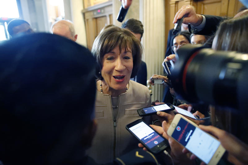 Sen. Susan Collins, R-Maine, talks with reporters after speaking on the Senate floor, on Capitol Hill, Friday, Oct. 5, 2018 in Washington about her vote on Supreme Court nominee Brett Kavanaugh.