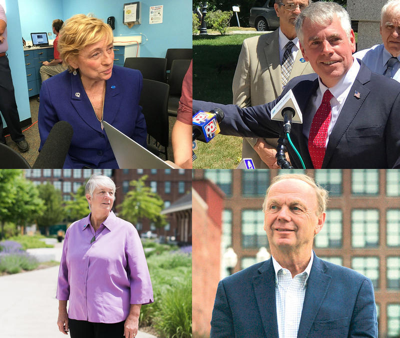 Clockwise from top left: Janet Mills, Shawn Moody, Alan Caron and Terry Hayes.