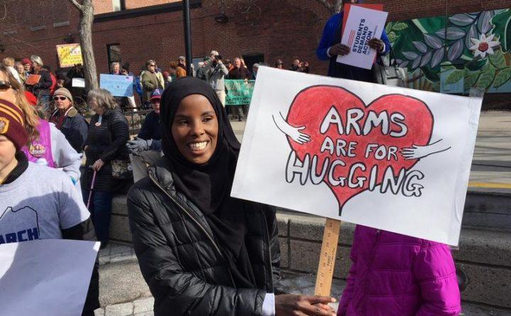 Hamdia Ahmed protests gun violence at a Portland rally March 24, 2018.