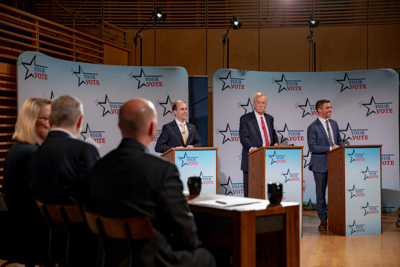Maine U.S. Senate candidates, left to right, Eric Brakey, Angus King and Zak Ringelstein at Maine Public's debate at Bowdoin College in Brunswick on Tuesday.