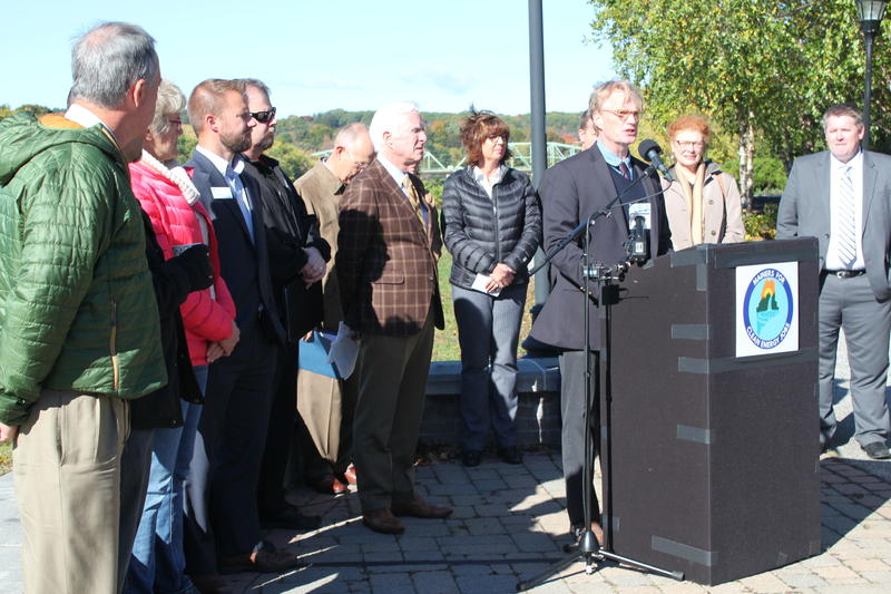 Ben Dudley speaks at a press conference introducing Mainers for Clean Energy Jobs, a coalition of business groups supporting a proposed 145-mile transmission line from Central Maine Power that would run through Maine.