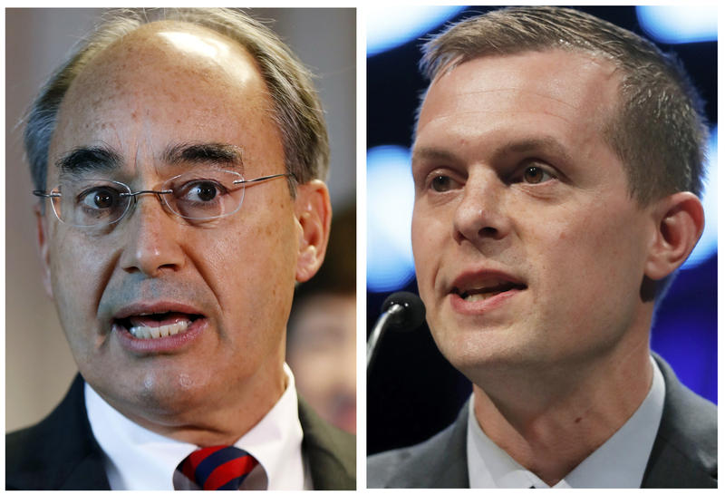 This combination of photos show U.S. Rep. Bruce Poliquin in 2017, left, and state Rep. Jared Golden in 2018, right, in Maine.
