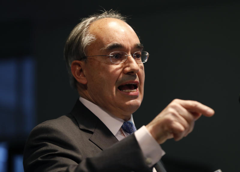 U.S. Rep. Bruce Poliquin, R-Maine, speaks at a news conference, Tuesday, Nov. 13, 2018, in Augusta, Maine.