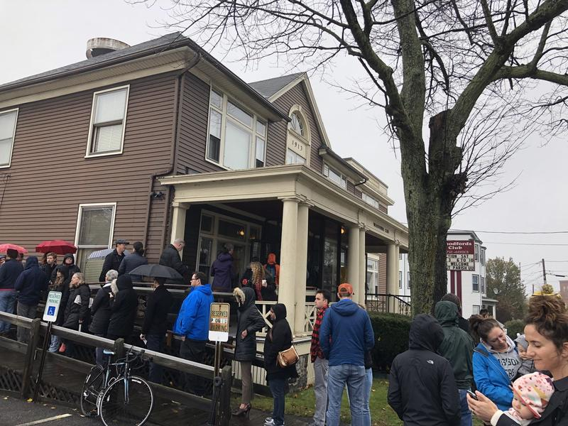 The line to vote outside the Woodfords club in Portland Tuesday morning