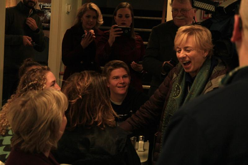 Maine Governor-elect Janet Mills greets patrons at Becky's Diner in Portland Wednesday morning.