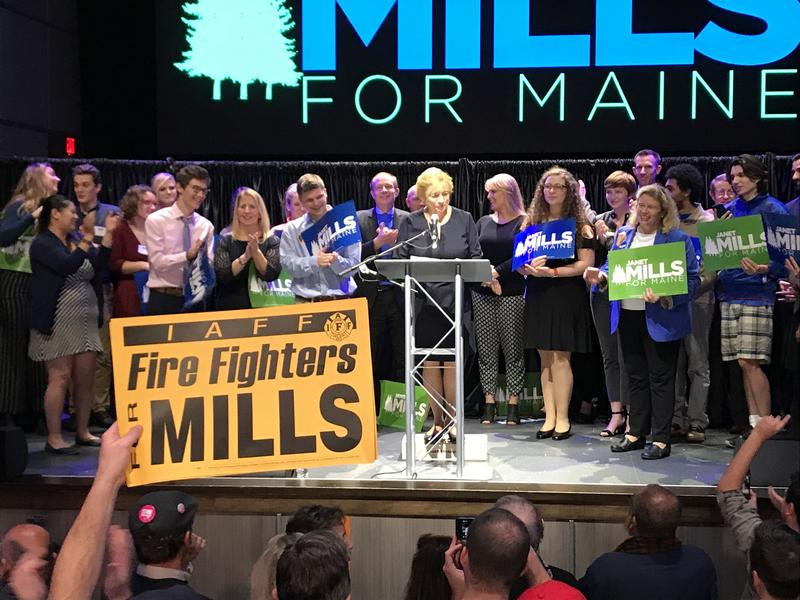 Democrat Janet Mills addresses supporters in Portland after winning the Maine governor's race.
