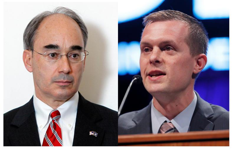 Incumbent Republican Rep. Bruce Poliquin, left, and Rep.-elect Jared Golden, right.