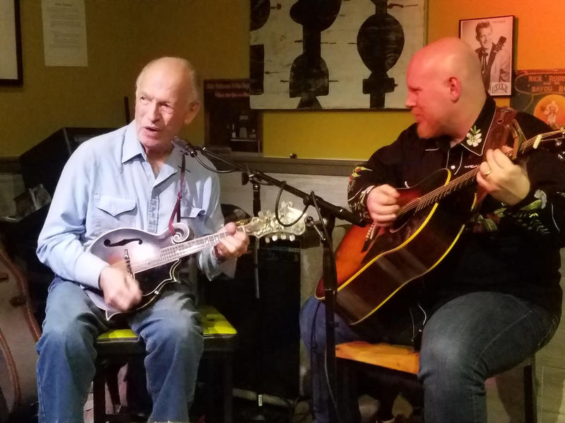 Al Hawkes, left, playing with Travis James Humphrey at Lenny's Pub, on the site of Hawkes Plaza - and Al Hawkes' original recording studio - in Westbrook, Feb. 24, 2018.