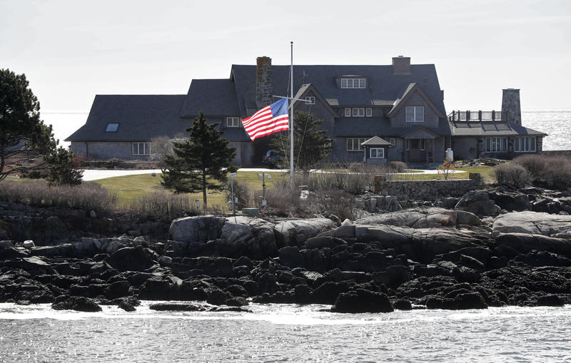 A U.S. flag flies at half-staff at Walker's Point, the summer home of the President George H. W. Bush and former first lady Barbara Bush, Wednesday, April 18, 2018, in Kennebunkport, Maine.