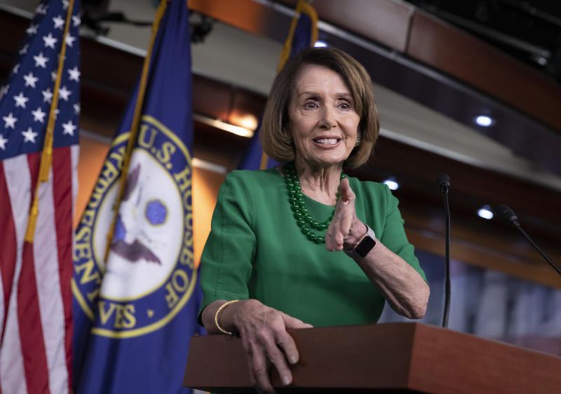 House Democratic Leader Nancy Pelosi of California, meets with reporters at her weekly news conference on Capitol Hill in Washington, Thursday, Dec. 6, 2018.