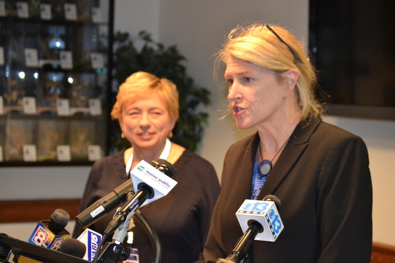 Janet Mills (left) and Jeanne Lambrew at a Friday press conference announcing Lambrew's nomination to lead the Maine Department of Health and Human Services.