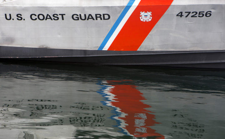 A 47-foot boat is seen at the United States Coast Guard station in Rockland, March 10, 2017.