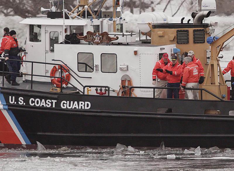 Coast Guard ice breaking efforts in the Penobscot River in Brewer in Feb. 2011. Hundreds of Coast Guard members in Maine are affected by the partial government shutdown.