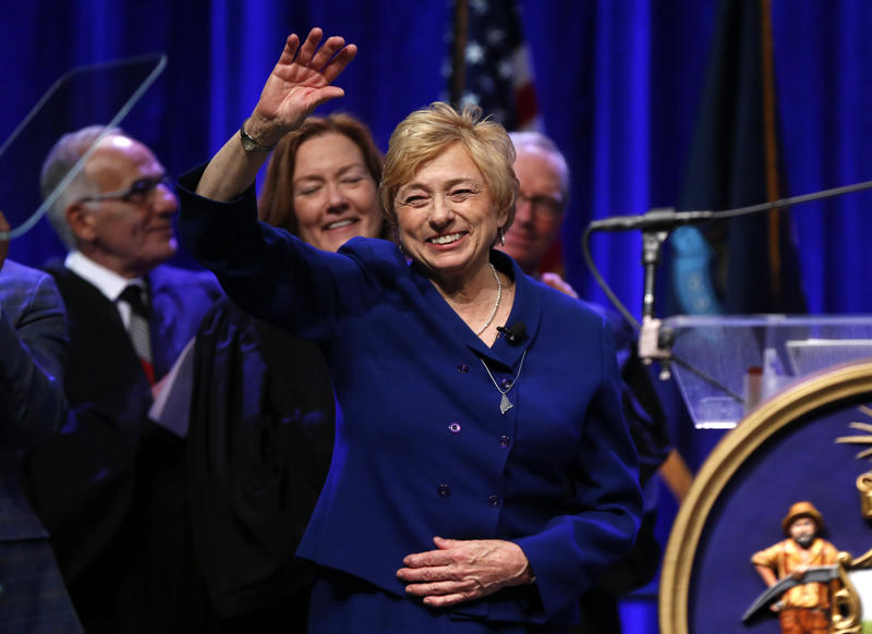 Gov. Janet Mills acknowledges applause after taking the oath of office, Wednesday, Jan. 2, 2019, at the Augusta Civic Center in Augusta.
