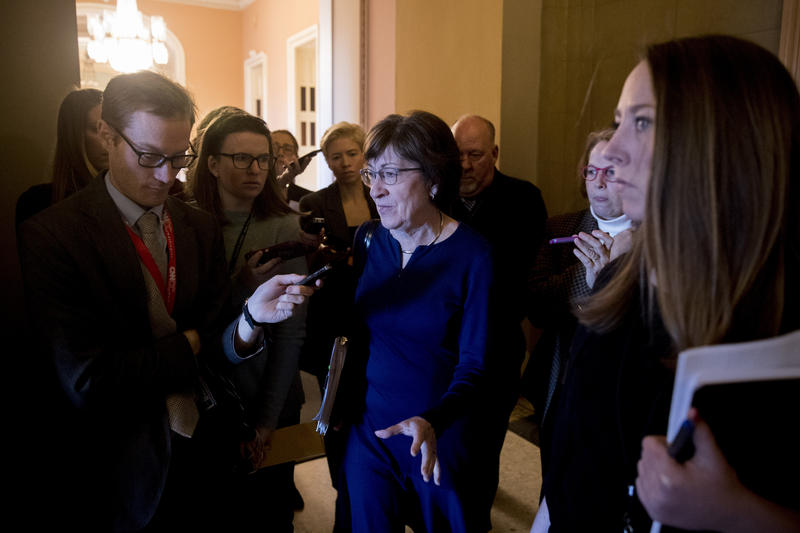Sen. Susan Collins, R-Maine, speaks to reporters as she walks into the office of Senate Majority Leader Mitch McConnell of Ky. for a meeting with Senate Republicans on Capitol Hill in Washington, Thursday, Jan. 10, 2019.
