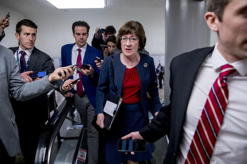 Sen. Susan Collins, R-Maine, speaks to reporters as she arrives at the U.S. Capitol building on Capitol Hill in Washington, Thursday, Jan. 24, 2019.