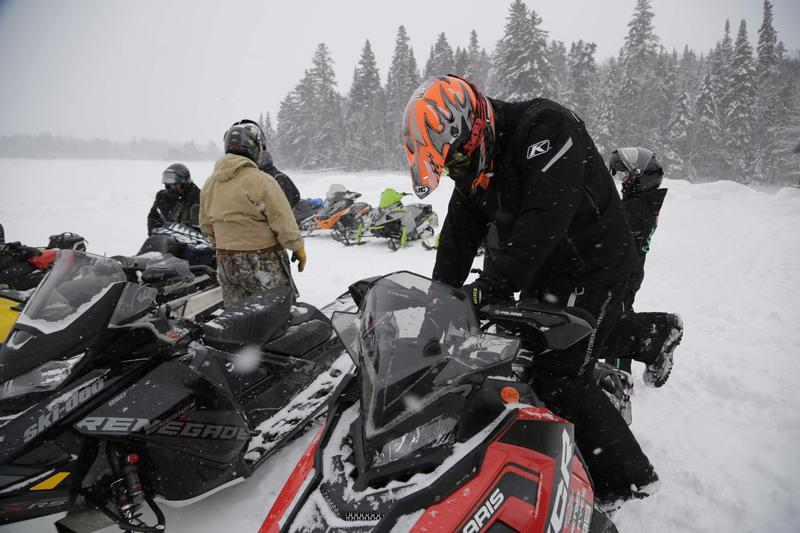 Bosebuck Mountain Camps, a remote outpost for snowmobilers on the trail.