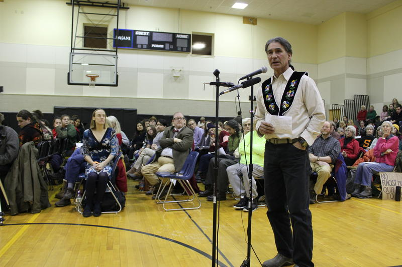 Former Penobscot Nation Chief Barry Dana speaks at a public hearing in Skowhegan on the high school's continuing use of its 'Indians' mascot.