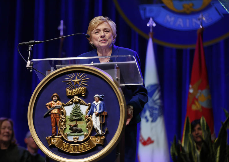 Mills delivers her inaugural address after taking the oath of office at the Augusta Civic Center in Augusta, Maine on Jan. 2, 2019.